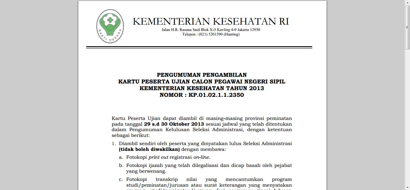 Formasi Cpns 2013 Depkes Cpns 2016 Cpnsindonesiacom Seleksi Administrasi Cpns Kemenkes 2013 Berbagi Beragam Informasi