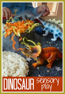 Dinosaur themed sensory play for toddlers