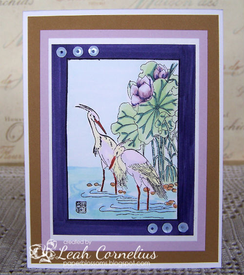 Art Neko, Leah Cornelius, Framed Egrets Wading Among the Flowers, copic markers