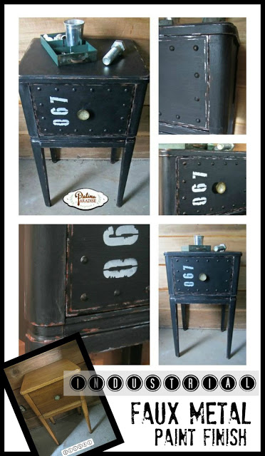 night stand, nightstand, industrial, faux, how to paint a faux metal, refinished night stands, painted furniture, furniture makeover