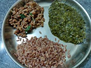 Beaten Red rice, Neer Brahmi greens, Black eyed pea sundal