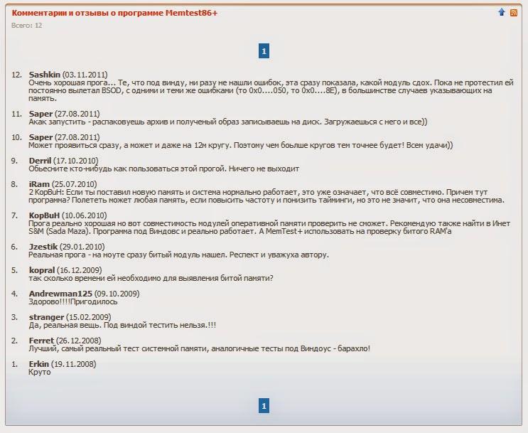 Комментарии и отзывы о программе Memtest86+ 5.01.