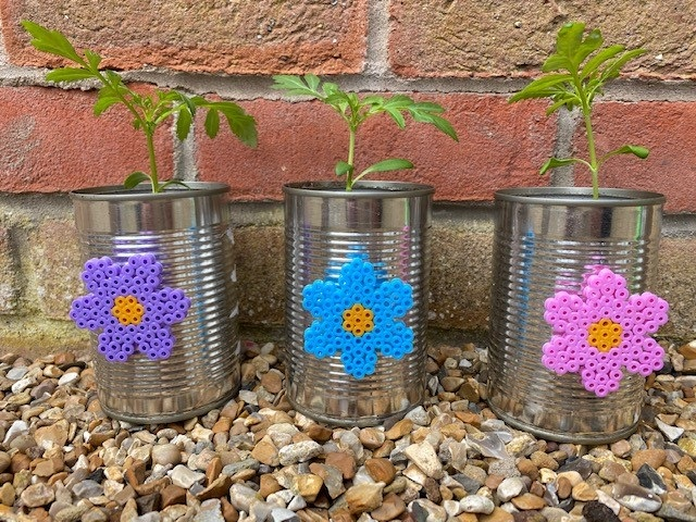 Hama bead flower tin can decorations