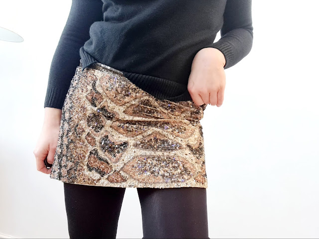 All Saints python beaded mini skirt
