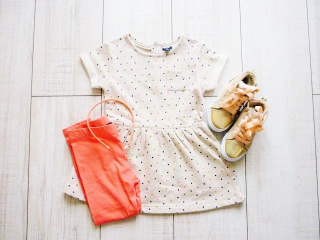 Kiabi collection printemps 2016 petite fille - robe à pois legging corail baskets dorées