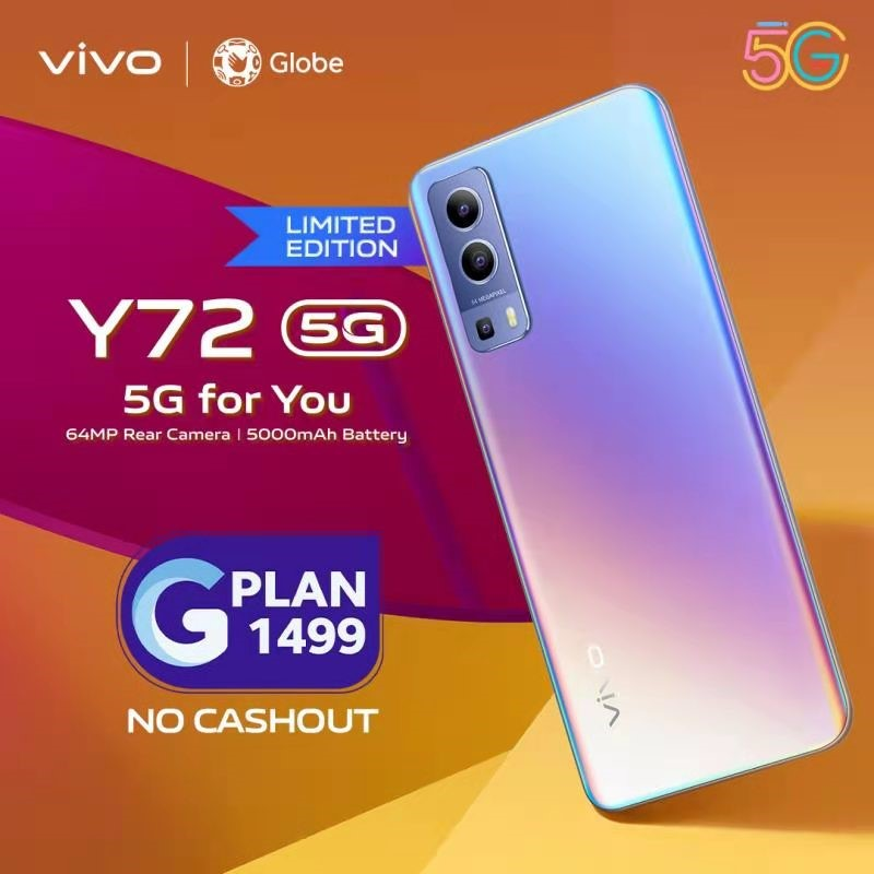 vivo Y72 5G available at Globe GPLAN 1499 with zero cashout