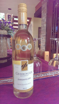 A bottel of Ehrenfelser from Gehringer Brothers in Okanagan Valley, BC.