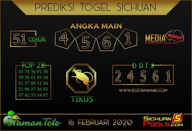 Prediksi Togel SICHUAN TAMAN TOTO 16 FEBRUARY 2020