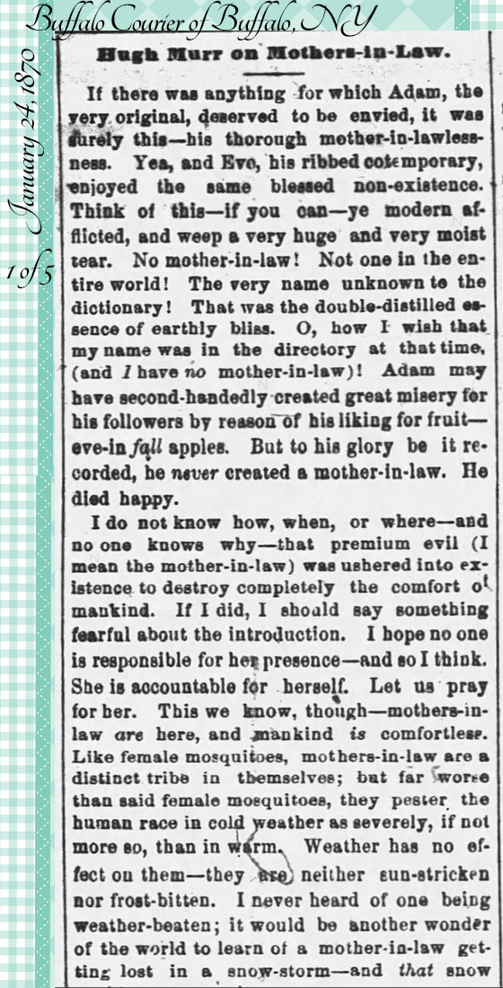 Kristin Holt | the Victorian-American Mother-in-Law. From Buffalo Courier of Buffalo, NY on January 24, 1870: Hugh Murr on Mothers-in-Law. Part 1 of 5.