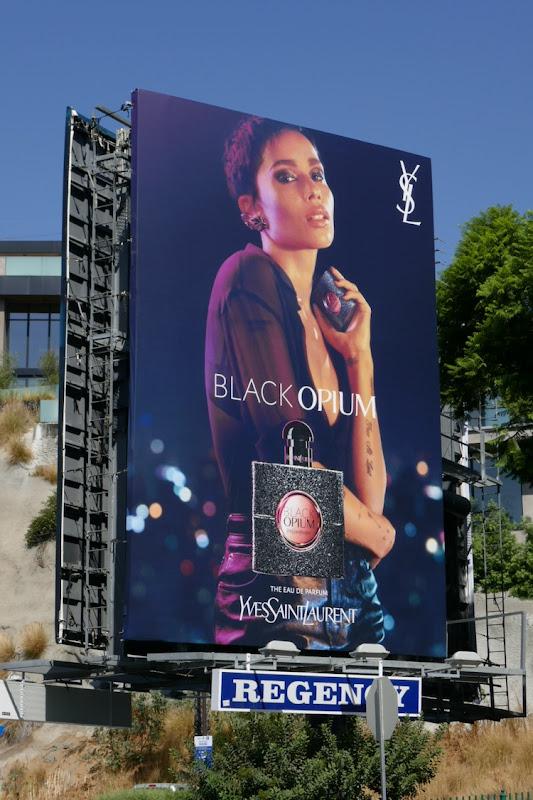 Zoe Kravitz YSL Black Opium fragrance billboard
