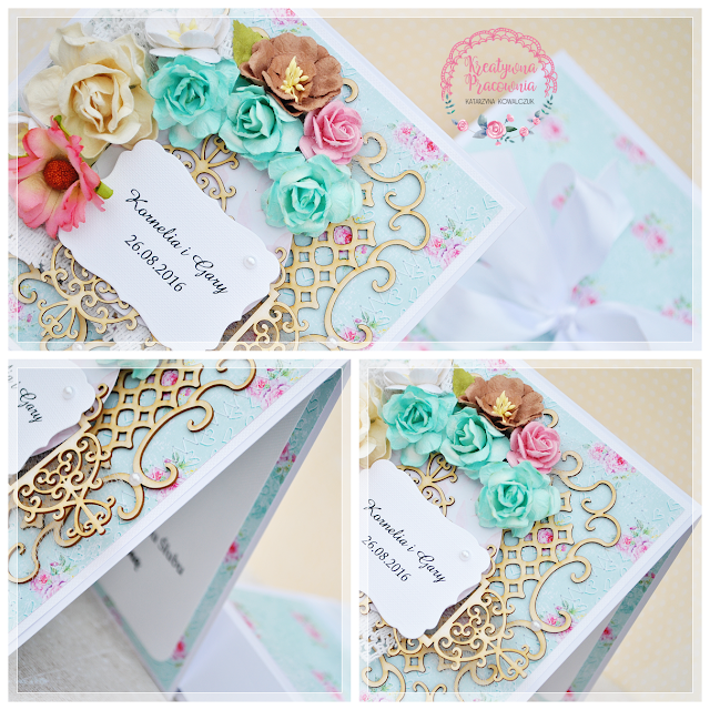 Kwiatowe kartki ślubne scrapbooking