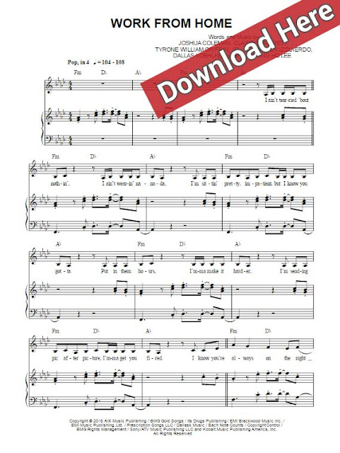 fifth harmony, work from home, sheet music, piano notes, chords, score, klavier noten, partition, tutorial, lesson, keyboard, guitar, tabs