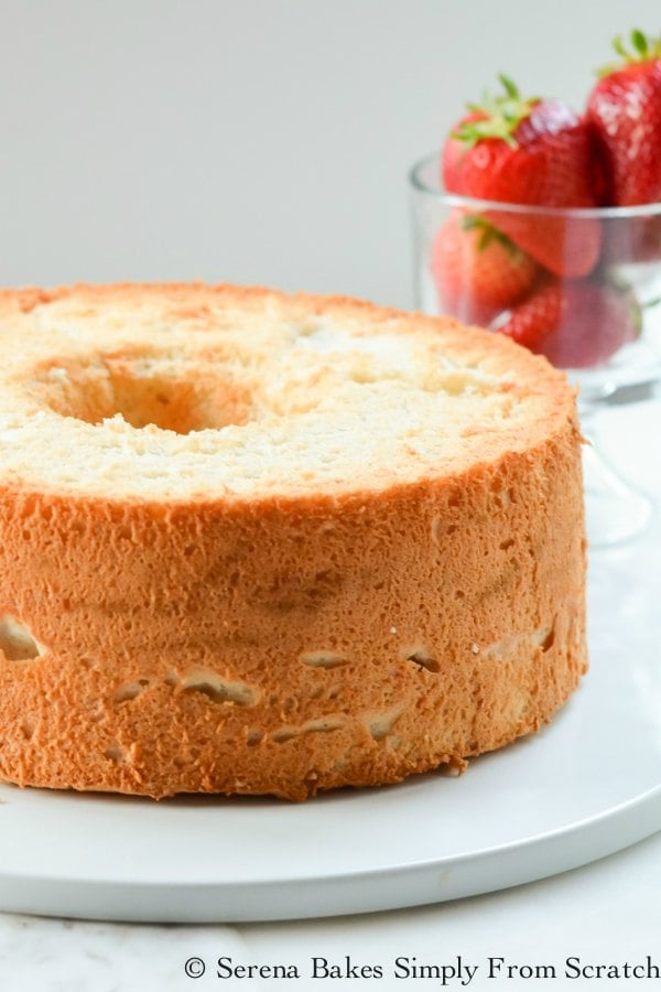 Light airy Angel Food Cake recipe is delicious served plain or with strawberries, berries, and whipped cream. Simply the Best Angel Food Cake recipe from Serena Bakes Simply From Scratch.