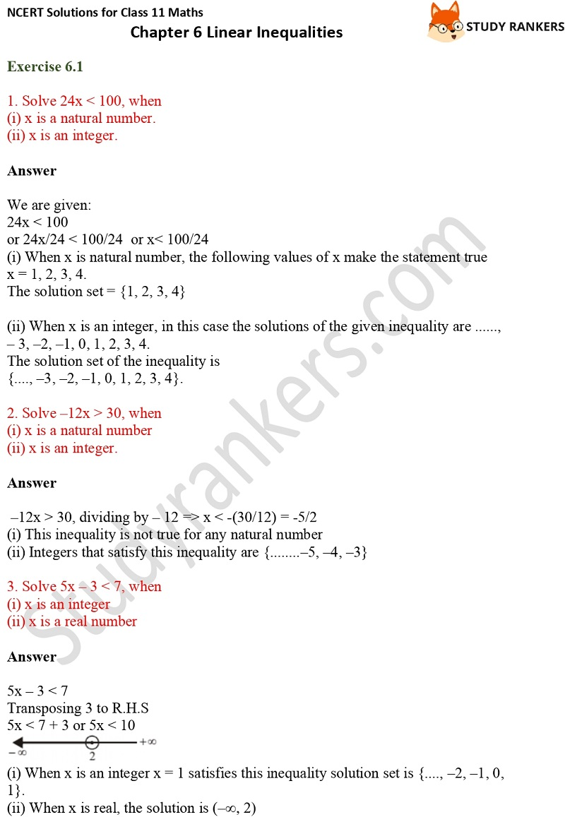 NCERT Solutions for Class 11 Maths Chapter 6 Linear Inequalities 1