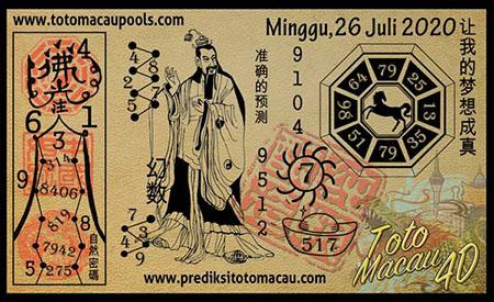 Prediksi Toto Macau Pools Minggu 26 Juli 2020