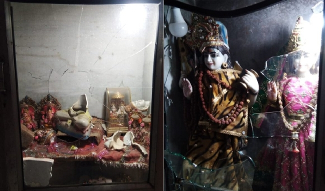 A group of communally charged Muslim men vandalised a Hindu temple in Lal Kuan, near Chawri Bazar in Old Delhi on Monday