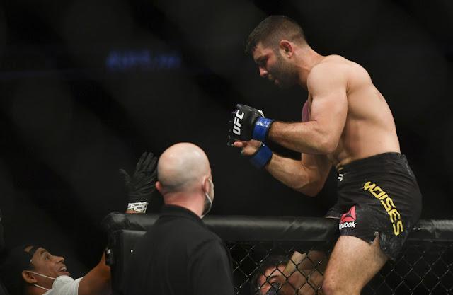 Thiago Moises celebrates UFC on ESPN+ 29
