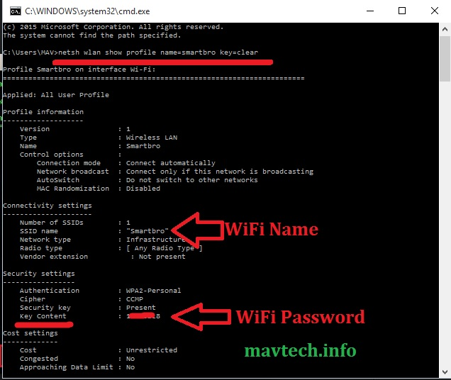 Show WiFi Password using Command Prompt
