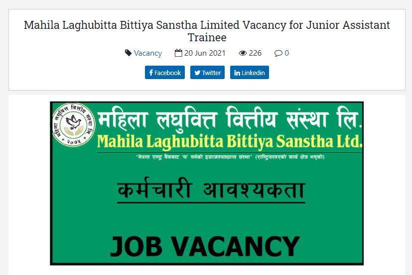 Mahila-Laghubitta-Bittiya-Sanstha-Limited-Vacancy-for-Junior-Assistant-Trainee