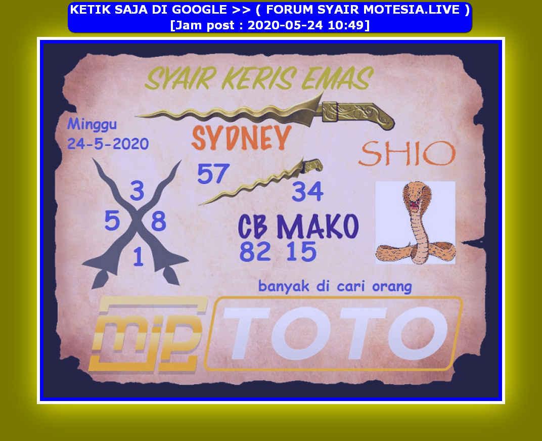 Kode syair Sydney Minggu 24 Mei 2020 65