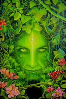 Close-up of a drawing of a green woman's head with leaves and flowers surrounding her face. The Green Lady of Wahiawa