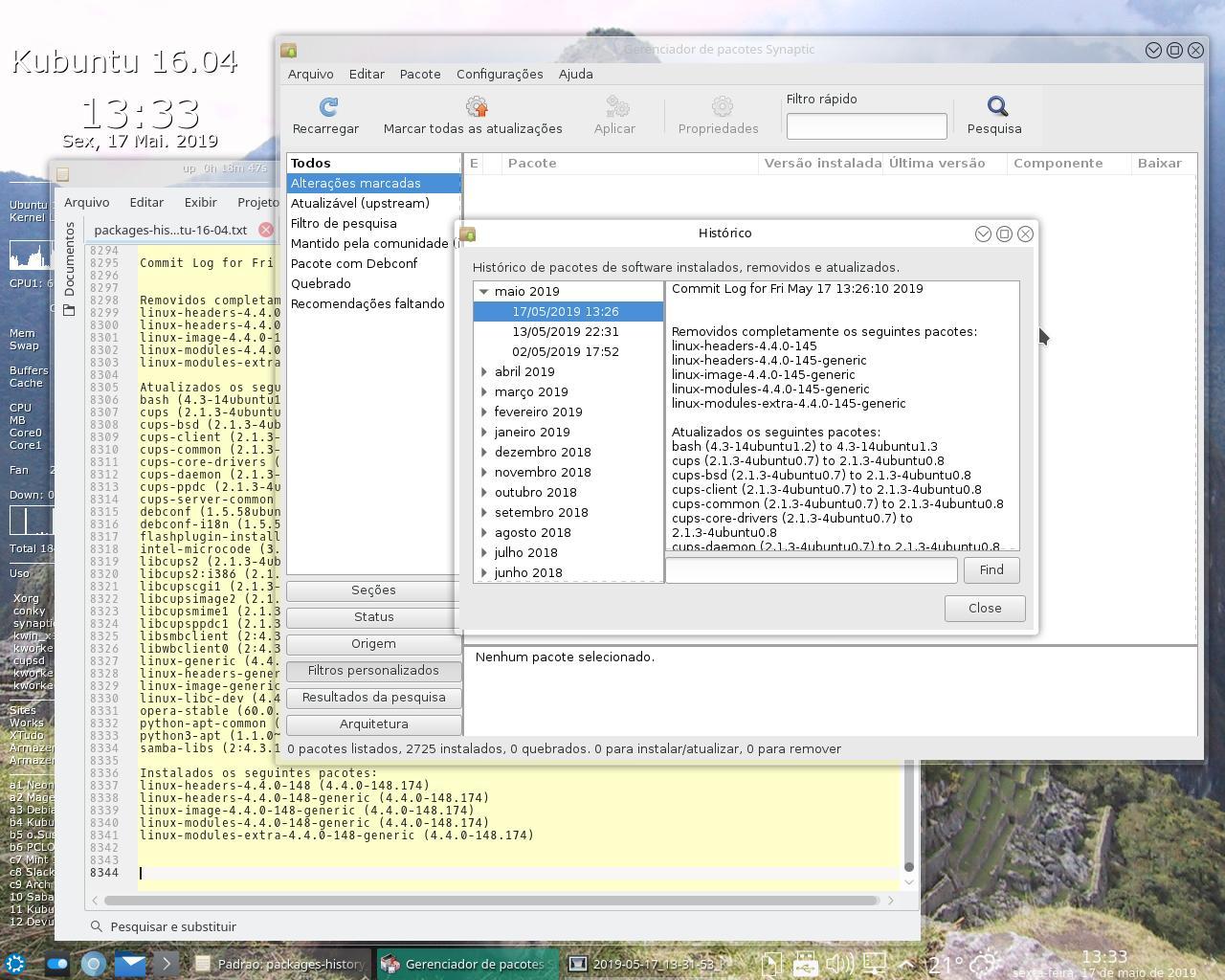 Byteria: Kubuntu 16 04 LTS Xenial - histórico de pacotes
