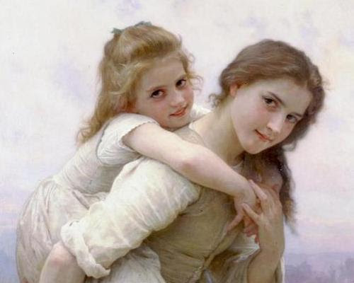A young girl is carrying her little sister on her back