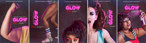 series of promotional posters for GLOW, which feature a diversity of women, in race and body size