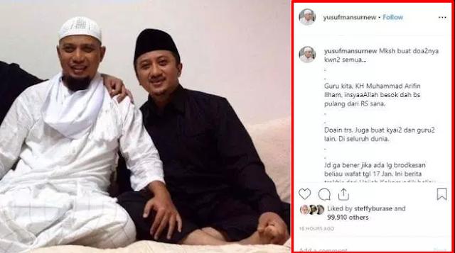 Momen Ustadz Arifin Ilham Pulang dari Rumah Sakit Malaysia