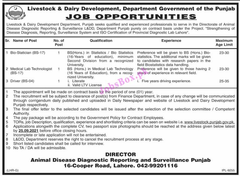 www.livestock.punjab.gov.pk - Livestock and Dairy Development Department Punjab Jobs 2021 in Pakistan