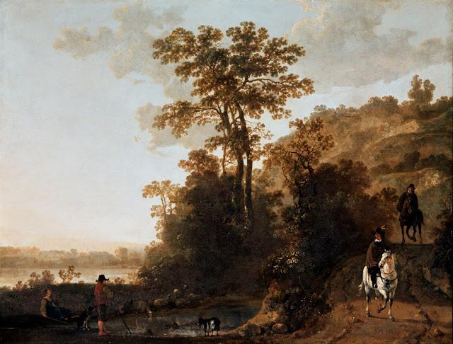 Альберт Кёйп - Вечерняя прогулка верхом близ реки. 1640-60
