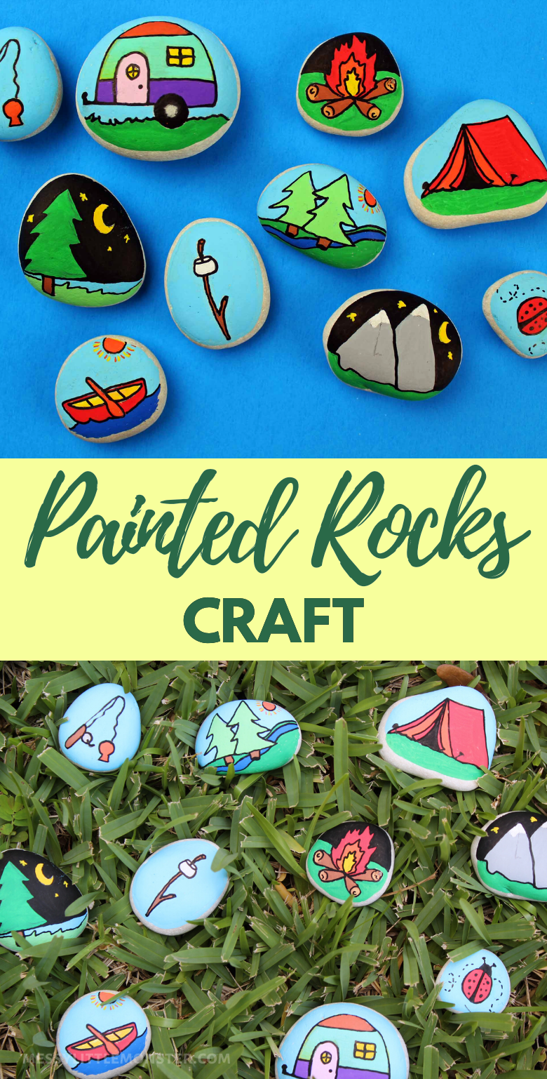 Painted rocks craft ideas for kids. Outdoor camping themed rocks.