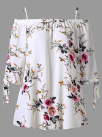 Plus Size Cold Shoulder Floral Blouse - White