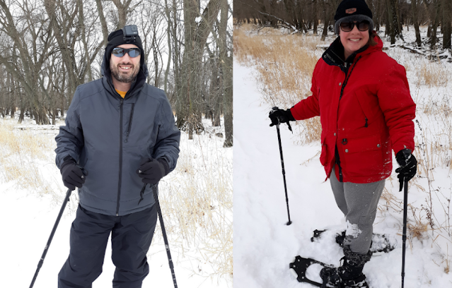 Dan Cline and his wife snowshoeing through snow covered landscapes of Iowa. Image credit Dan Cline.