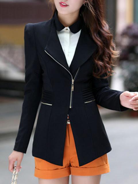 Blazer feminino     acinturado preto