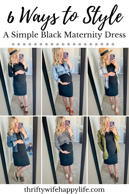 6 ways to style a simple black fitted maternity dress