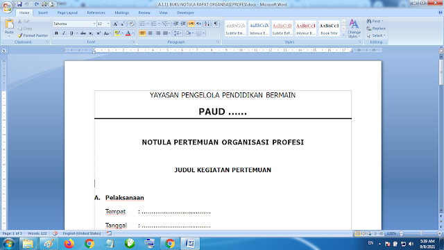 Download Contoh Buku Notula Rapat Organisasi Profesi Paud KB RA