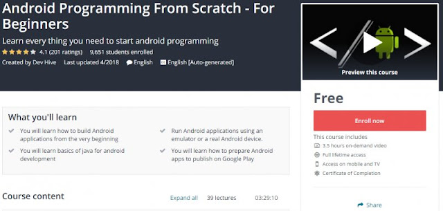 [100% Free] Android Programming From Scratch - For Beginners