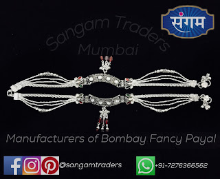 bombay fancy silver payal