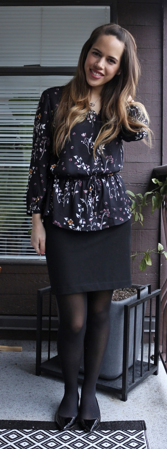Jules in Flats - Dynamite Floral Peplum Blouse, Jacob Pencil Skirt, Aldo Deloris Shoes
