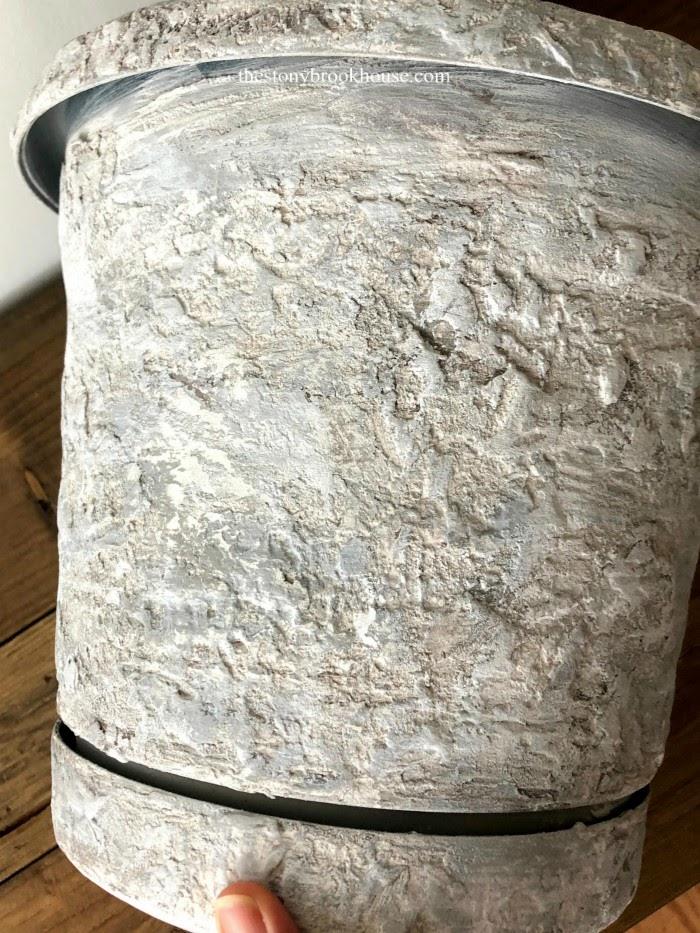 Adding light gray and white to the concrete pot