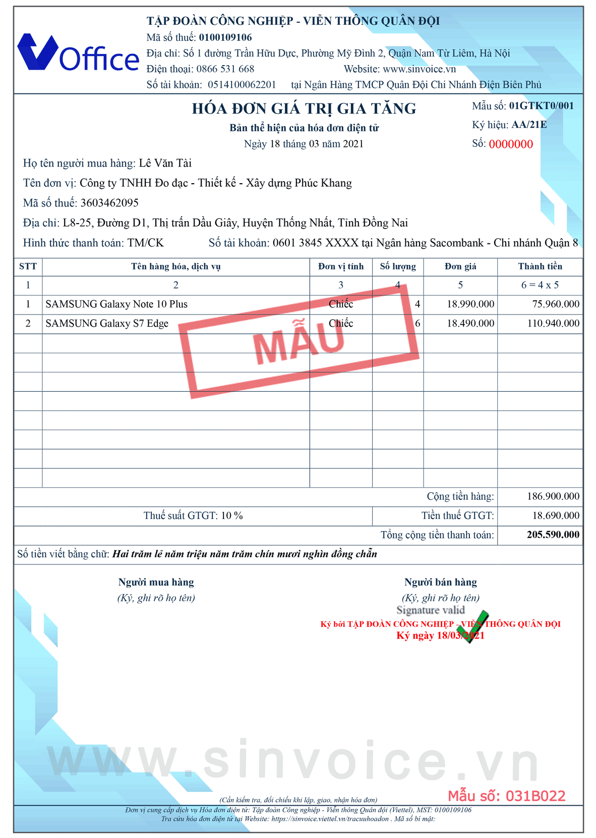 Mẫu hóa đơn điện tử số 031B022
