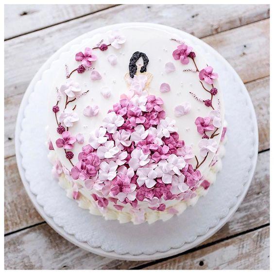 bánh sinh nhật cô gái mặc váy hoa