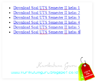 Download Contoh Soal Ujian Tengah Semester (UTS) Semester 2 Kelas 1, Kelas 2, Kelas 3, Kelas 4, Kelas 5, Kelas 6 Lengkap