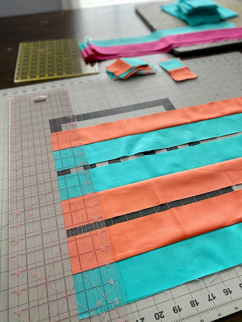 Strip Piecing - Cutting them to size all at once