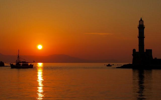 Pôr-do-sol em Chania, Creta