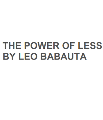Download The Power Of Less By Leo Babauta In Pdf