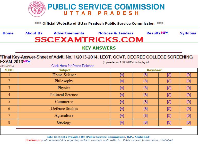 UPPSC EXAM 2014 ANSWER KEYS