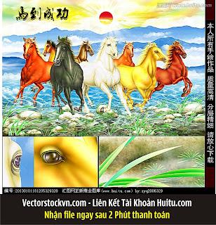 Vector Đàn Ngựa 8 mã in tranh