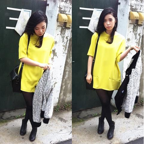 大聲嚷嚷著。: [穿搭] neon yellow op 螢光黃洋裝 5 days